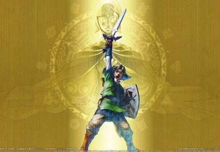 Skyward Sword - hylian shield, link, zelda, skyward sword, fi, master sword