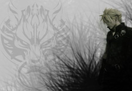 Cloud Strife - cloud strife, fenrir, widescreen, 7, advent children, wolf, final fantasy, final fantasy vii