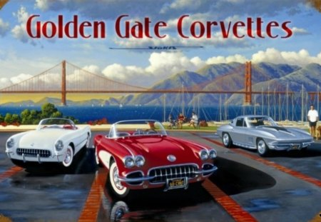 GOLDEN GATE CORVETTES - sport cars, golden gate bridge, tarmac, mountains, sea