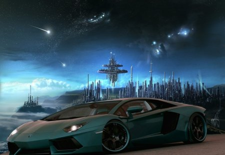 space lambo - cars, stars, aliens, tuned, space, lamborghinni, cities