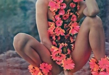 coral flowers - legs, model, body, flowers, coral, fashion