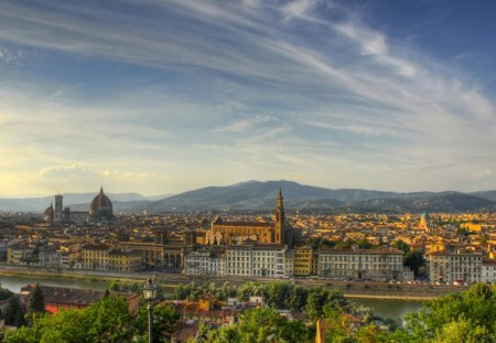 florence italy - city, river, sky, cathedrals