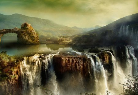 Fantasy landscape - colorful, beautiful, magic, stones, fantasy, splendor, waterfall, magical, nature, castle, landscape