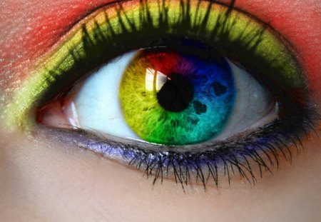 Rainbow Eye - rainbow, woman, colors, eye, makeup