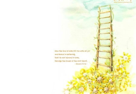 Flowers and Ladder - rustic, inspirational, yellow flowers, quotes, flowers, ladder, bible, clouds