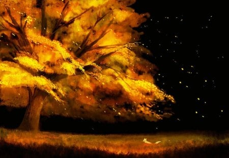 Autumn scenery - stars, autumn, orange, halloween, ginger, black, sky, animal, tree, fox, scenery, night