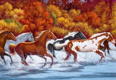 Herd of horses in river - red, autumn, shore, herd, beautiful, sea, splash, nice, bunch, bank, painting, river, lovely, waves, trees, horses, waters, ride, nature