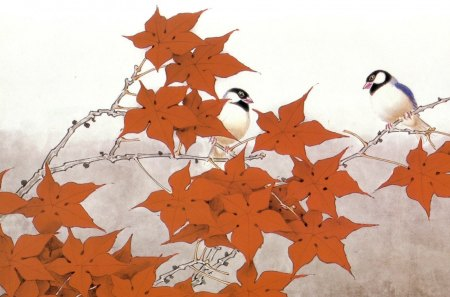 Leaves and birds - art, autumn, bird, painting, asian, chinese, branch, leaf