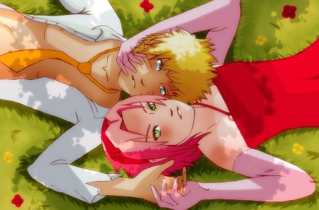 wedding in the grass - sakura, narusaku, naruto, grass