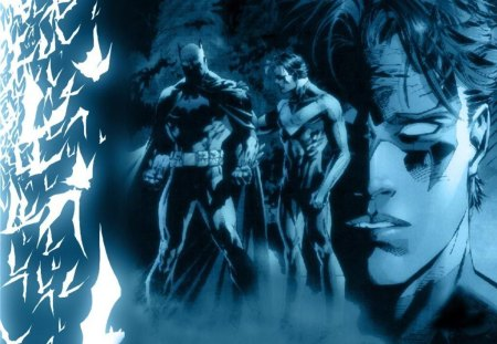 Nightwing with Batman - dick, league, nightwing, grayson, asylum, comics, batman, tim, dc, justice, drake, city, universe, arkham