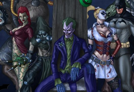 Batman & Villains - villains, scare, joker, batman, crow, bane
