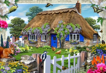 WISTERIA COTTAGE - cottages, birds, homes, country, fences, thatch, flowers, gardens, artworks