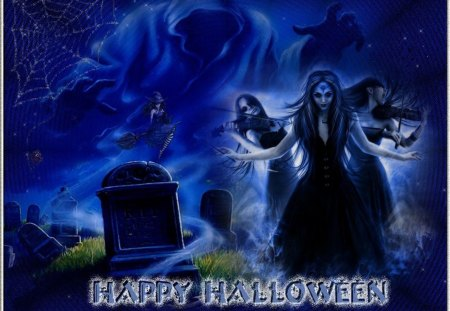 HAPPY HALLOWEEN - witch, halloween, blue, night