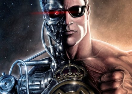 the terminator - sunglasses, red eye, man, muscles, robot