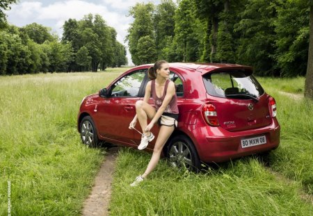 Nissan Micra with a girl on the way - micra, way, girl, nissan
