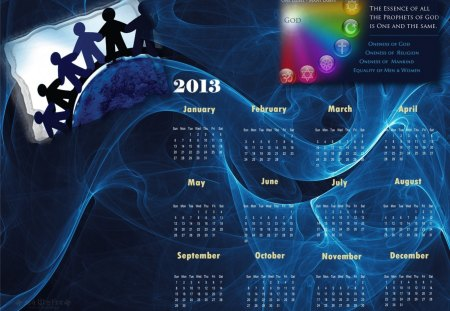 unity 2013 calender - calender, christian, buddhist, spiritual, equality, 2013, unity, love, hindu, jew, christianity, humanity, hinduism, religion, peace, sikh, buddhism, oneness, judaism, god