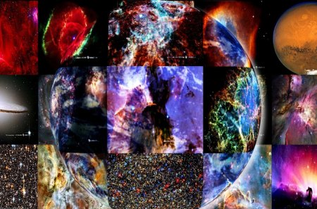 Galaxies Come Together - high definition, collage, high quality, 3d, galaxies, moon, earth, hd, planet, space, stars, abstract, hubble