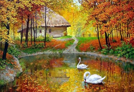 Swan Lake - yellow, autumnal, swan, lake