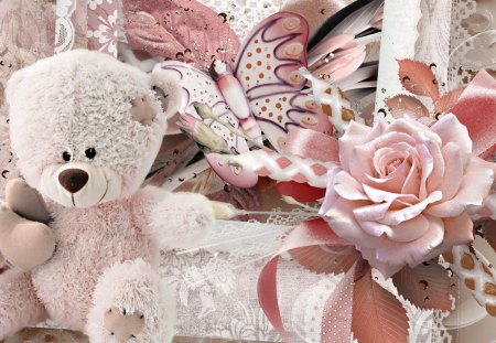 Happy Teddy Bear - fleurs, rose, lace, toy, soft, ribbons, sweet, butterfly, papillon, flowers, pink, vintage