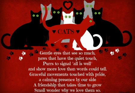 ♥     Cats Poem     ♥ - white cat, purr, cat, grey cat, paws, poem, black cat, gentle eyes, love, meow, cats, animals