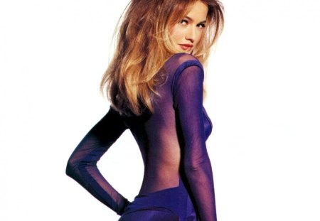 Karen Mulder - seductive - sensual, pretty, blond, karen mulder, beautiful, woman, photography, seductive, supermodel, famous, beauty, glamour, face, blue eyes, celebrity, tempting, sexy, lips, 90s, purple, body, fashion