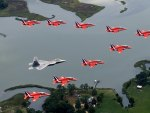 Red arrows and F-22