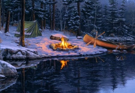 Winter picnic - forest, shore, trees, picnic, lake, winter, fire, boat, snow, darkness, dark, nature, river, reflection, fishing