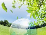Globe on Grassland, Green leaves, blue sky