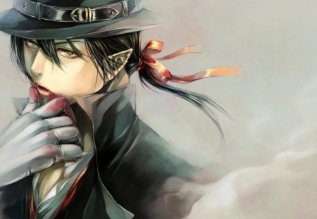 Vampire - red, art, manga, black, man, blood, hat, masquerade, boy, fantasy, gloves, anime, vampire, fang, mask