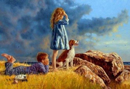 Painting - stone, girl, painting, boy, art, dog