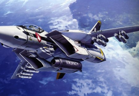 ~Macross Fighter Conspicuously~ - love four seasons, attractions in dreams, creative pre-made, most downloaded, sky, aircraft, fighter plane, military, macross, blue