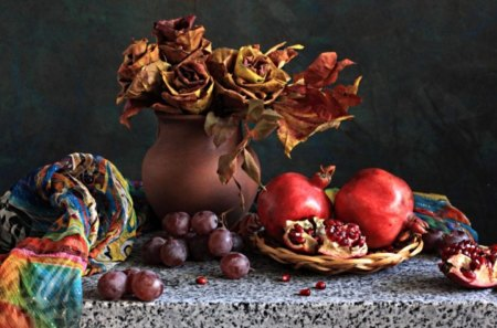 *** Still Live *** - vaze, dry, fruits, flowers, nature