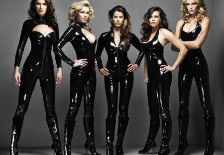 girls posing in latex - girls, latex, posing
