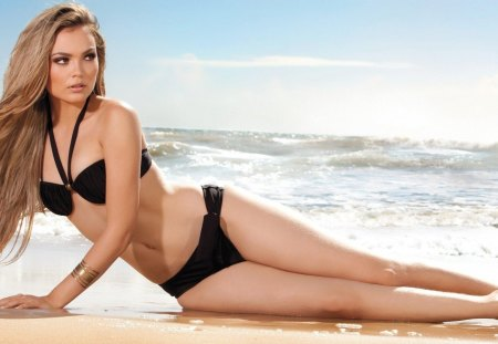 Debora Campos - swimsuit, pretty, blond, beautiful, woman, sea, beach, hair, sand, hot, face, campos, babe, ocean, blonde, sexy, bikini, water, girl, debora, lady, eyes