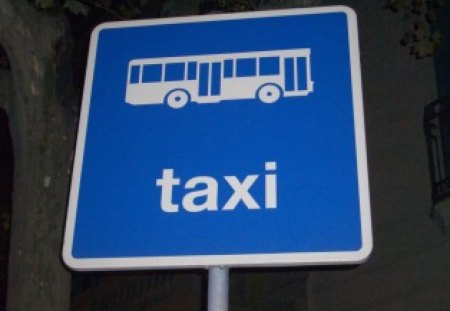 Taxi - confused, taxi, sign, blue, bus