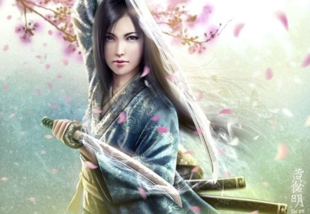 Mirumoto Kei - fantasy, japan, girl, sword, beuty, warrior