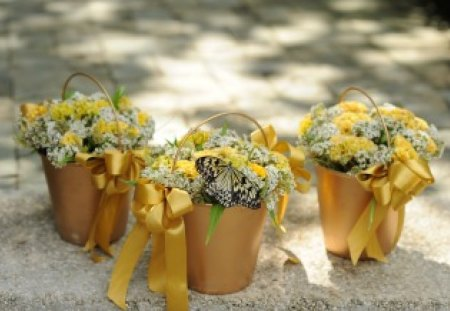Lovely bright buckets♥ - special, lovely, design, yellow, ribbons, roses, bows, floral, buckets, friendship, entertainment, love, bright, forever, fashion
