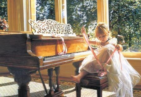 LITTLE BALLERINA - ballerina, dance, girl, piano