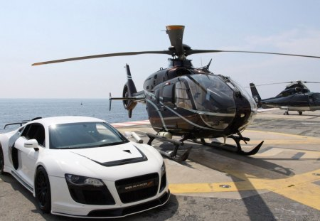 Audi R8 tuned - r8, audi, helicopter, ocean