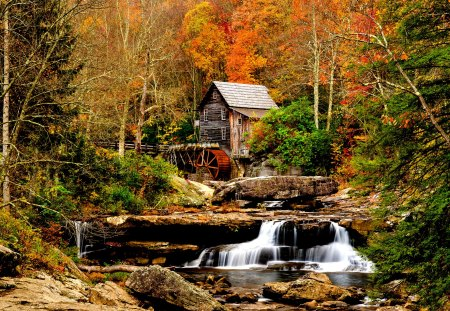 Autumn - stream, fall, rocks, autumn, mill, woods, autumn leaves, beautiful, leaves, watermill, stones, splendor, water mill, autumn splendor, waterfall, beauty, river, forest, lovely, view, colors, trees, tree, water, autumn colors, peaceful, nature