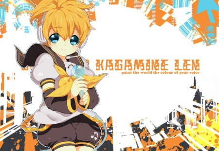 Kagamine Len - vocaloid, microphone, video games, yellow, kagamine len, other