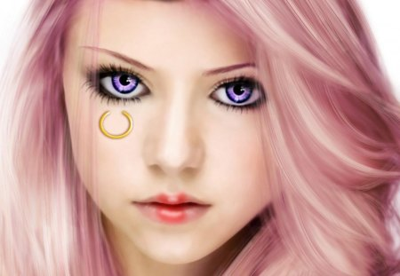 Jewelry Bonney - bonney, female, white background, one piece, girl, anime, bonney jewelry, jewelry bonney, face, realistic, purple eyes, pink hair