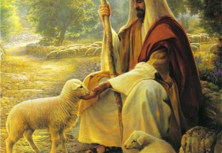The Lord is my Shepherd - christ, art, sheep, jesus, painting, lord, shepherd, god