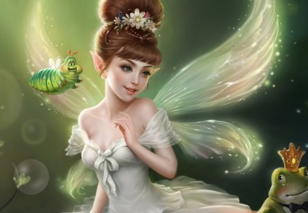 Cutie Fairy. - white, brown, green, may