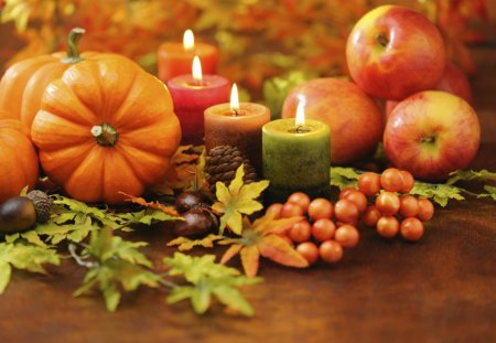 The Beauty Of Autumn - fall, autumn, acorns, apples, fruits, pinecone, candles, tomatoes, still life, leaves, Thanksgiving, gords
