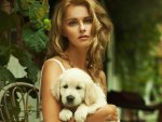♥beautiful girl with a puppy♥
