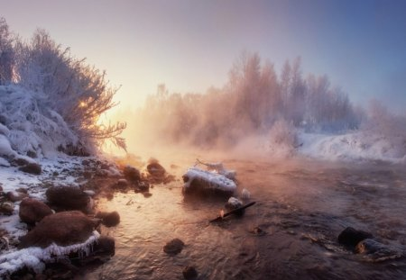 Sunrise winter - rocks, snow, nature, sunrise, creek, winter, cold