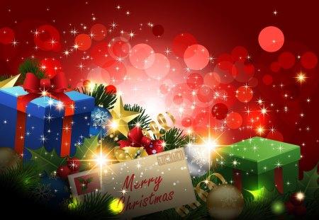 Merry Christmas - colorful, christmas, ribbon, bokeh, bow, magic, star, christmas ball, red, xmas, box, christmas balls, colors, christmas tree, magic christmas, merry christmas, christmas decoration, decoration, beauty, christmas star, beautiful, lovely, gifts, christmas gifts, pretty, gift