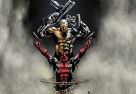 fantasy art - guns, demon, man, sword, body armour