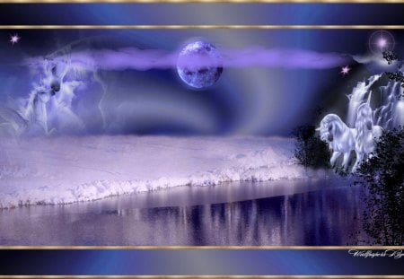 Unicorns In The Snow 1600x900 - fantasy, lakes, snow, unicorns, animals